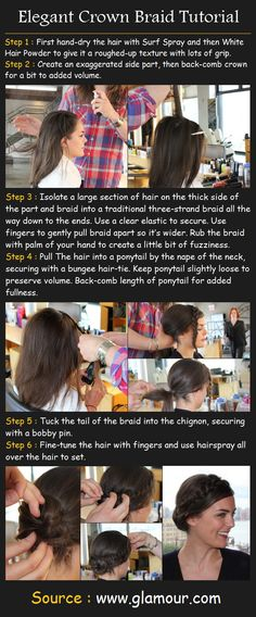 Ixnay all the nasty teasing and it's adorable! Elegant Crown Braid | Beauty Tutorials