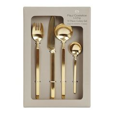 gold Paul Costelloe Living Cutlery Set - 16 Piece Set