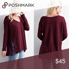"""[boutique] top """"avelie"""" burgundy long sleeve knit top with side slit. bought from a boutique (not free people) on poshmark but it's too big on me. size small but fits a size medium. made from rayon + polyester. worn once  like new! ✨   • make an offer ^_^ ! • Free People Tops Tees - Long Sleeve"""