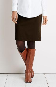 ponte knit pencil skirt in walnut (brown) from J.Jill