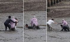 The dramatic scenes unfolded when the Norweigan couple got stuck in waist high mud while bird watching with their camera in the Krabi river in Southern Thailand.