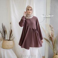 Hijab Fashion Summer, Modern Hijab Fashion, Islamic Fashion, Abaya Fashion, Fashion Outfits, Moslem Fashion, Casual Hijab Outfit, Blouse Models, Modest Wear