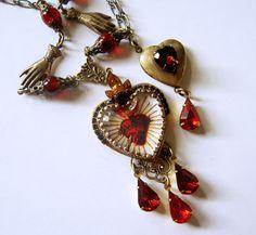 Sacred Heart Necklace  Locket Necklace  Roman by PersephonesBijoux