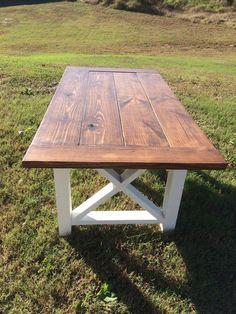 Farmhouse Table - Farm table and bench - Wood Farm Table- Rustic -Table Farm Table - Custom Wood Table - Square X Table