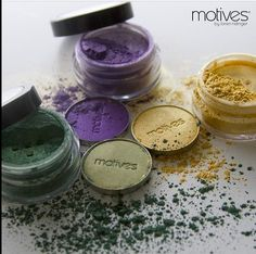 Happy hump day! How are you showing your Mardi Gras colors?  Motives paint pot mineral eye shadows in Cha-Ching, Mesmerize and She Sparkles are the perfect eye colors to match your outfit! www.IHEARTMOTIVES.com