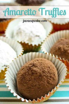 Recipe for rich, decadent Amaretto Truffles covered in cocoa powder, sugar, and jimmies. Holiday Cookie Recipes, Candy Recipes, Holiday Cookies, Yummy Recipes, Dessert Dips, Dessert Recipes, Oh Fudge, Truffle Recipe, Best Candy