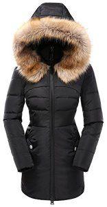 Valuker Doudoune 90% Duvet Manteau parka hiver fourrure avec capuche pour  Femme HOUNV57-Noir f309163b8a07