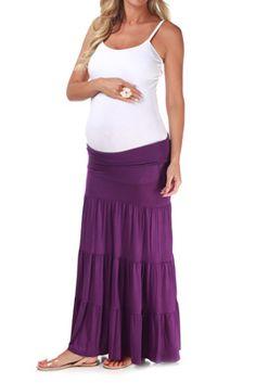 Purple Bohemian Maxi Maternity Skirt