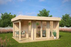 Garden Office-Garden Room Mini Hansa Lounge / / 3 x 3 m – Summer House 24 Log Cabins Uk, Garden Log Cabins, Log Cabins For Sale, Backyard Studio, Backyard Sheds, Garden Studio, Backyard Patio, Contemporary Garden Rooms, Corner Sheds