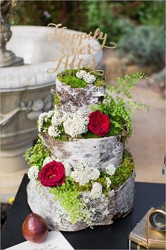 This cake is for the risk takers who aren't afraid to take their wedding details to the next level! See more of these Shakespeare Inspired Wedding Ideas here captured by Alyssa Marie Photography with cake by Rosebud Floral. 100 WEDDING CAKES THAT WOW Wedding Cake Photos, Wedding Cake Rustic, Beautiful Wedding Cakes, Gorgeous Cakes, Birch Wedding, Bridal Pictures, Forest Wedding, Woodland Wedding, Fall Wedding