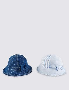 2 Pack Chambray Spotted Safe in the Sun Hats (1-6 Years) Clothing