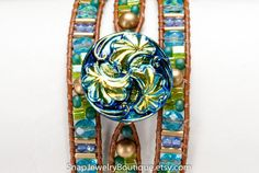 """Leather snap triple wrap bracelet beaded aqua green teal blue gold, for 18mm snaps, like ginger snaps noosa, fits up to 7"""" (17.8cm) wrist"""