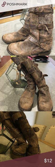 Steve Madden distressed buckle boots This have definitely have been loved. This were my favorite boots. The back of the heel has loss it's some of its stiffness, but they are still wearable. Steve Madden Shoes Combat & Moto Boots