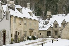 Wiltshire, England - snowy day in the village