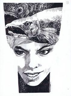 Sergio Toppi Girl Illustration by Sergio Toppi - Original art