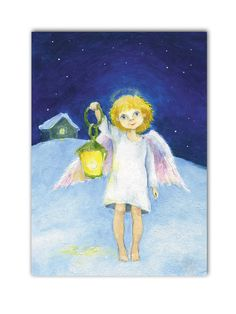 Angel and light Christmas angel painting Print Small angel nursery decor Children religious art Chrismas gift Angels pic by Mirabilitas on Etsy