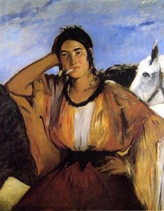 Édouard Manet Gypsy with cigarette (Indian woman smoking), oil on canvas, x cm, Princeton University Art Museum. Manet is one of the first nineteenth century artists to approach. Renoir, Edouard Manet Paintings, Oil On Canvas, Canvas Art, Berthe Morisot, Impressionist Art, French Artists, Famous Artists, Art Google