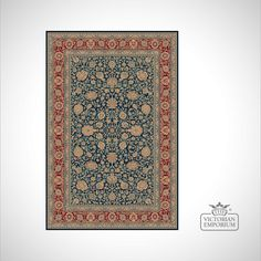 Buy Victorian Rug - style RO1627 Navy, Rugs - Comes in three different sizes and two colours