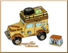Safari Jeep with Monkey in Cage Limoges Box - Beauchamp