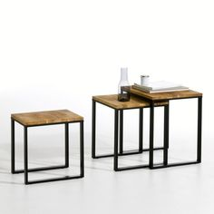 Three nested side tables in solid joined and oiled oak. Inspired by industrial furniture of yesteryear. You will love the clean lines and the aged, vintage look that's bang on-trend. High quality materials, a sled-style base and aged black lacquered steel for a hand-crafted look.Hiba nested tables description:Sled-style structure and base.Built-in protection pads.Features:Tops in solid joined and oiled oak in natural shaded tones.Oiled finish for easy care.Structure and legs in steel with a…