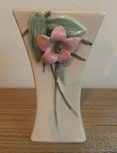 """Vintage C 1940 McCoy Pottery Blossomtime Pink Green 6 1 4"""" Vase. Latest addition to my collection."""