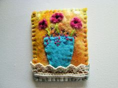 felt brooch wet felted brooch with embroidery and vintage