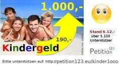 """Verteiler-Zettel und Aushänge """"Kindergeld 1.000,- Euro pro Monat"""" :http://www.gleichberechtigt.eu/zettel1-kinder"""