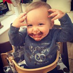 Definitely no chocolate consumed by this baby...  #eduardojonathan #eduardosacconejoly #chocolatemonster #chocolateface #12monthold #oneyearold