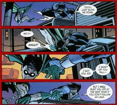 """Nightwing & Robin (Jason Todd) - """"I got you, kid.  I won't let you fall - but I will punt you off at the next stop if you don't follow my lead."""""""
