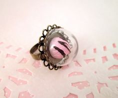 This listing is for one 20mm brass lace ring and low glass dome. The dome has an 18mm opening and is appox. 12mm high and 20mm wide. The ring is adjustable and will fit most adult ring sizes.  Please know that each glass dome is hand blown and will have slight imperfections.  **This does not include the cabochon.** Here are the sweets we carry to make your own ring! https://www.etsy.com/shop/HappyKawaiiSupplies?section_id=15735035&ref=shopsection_leftnav_1
