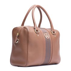 Tommy Hilfiger Bella Duffle Bag. Leather duffle bag with grosgrain tape at the centre.
