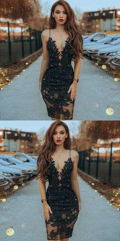 Sheath Spaghetti Straps Black Beaded Short Prom Dress with Lace by MeetBeauty, $127.63 USD