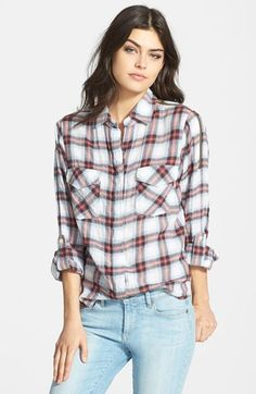 Sam Edelman Zip Shoulder Plaid Shirt available at #Nordstrom