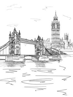 London Bridge Line Art Backdrop - 7413 - Leo de la Vega - London Sketch, London Drawing, Background For Photography, Photography Backdrops, Photo Backdrops, Photography Backgrounds, Art Background, Art Sketches, Art Drawings