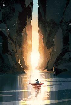 Fantasy Art Landscapes, Fantasy Landscape, Landscape Art, Japon Illustration, Landscape Illustration, Fantasy Concept Art, Fantasy Artwork, Wallpaper Animes, Environment Concept Art
