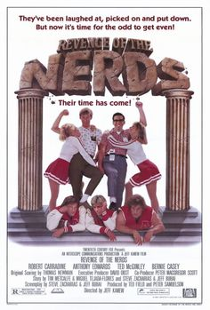 Watch Revenge of the Nerds full hd online Directed by Jeff Kanew. With Robert Carradine, Anthony Edwards, Timothy Busfield, Andrew Cassese. At Adams College, a group of bullied outcasts and m 90s Movies, Great Movies, Movies To Watch, Cult Movies, College Movies, Awesome Movies, Anthony Edwards, See Movie, Movie Tv
