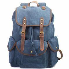 Handmade Blue Waxed Canvas Backpack Travel Backpack School Backpack Hiking Rucksack FB06