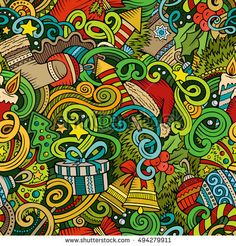 Cartoon cute doodles New Year seamless pattern. Colorful detailed, with lots of objects background. Endless vector illustration. Backdrop with Christmas symbols and items
