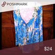 "3X Susan Graver Style Plus Sheer Floral Blouse Susan Graver Style Plus Womens Size 3X Blue Green Floral Sheer Blouse? Bell sleeves, tie at elastic neckline armpit to armpit apprx 28"" Length apprx 28"" See pics for details Susan Graver Tops Blouses"