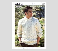 PDF Vintage Mens Classic Aran Sweater Knitting Pattern with Intricate Interlocking Cables Classic, Traditional, Sophisticated...