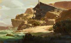 Shore Cabin Sketch, Manuel (Du)Pong on ArtStation at https://www.artstation.com/artwork/YPP5Y