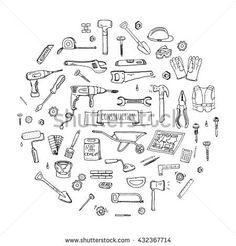 Vector illustration building icons House repair concept collection Modern sketch style labels of home remodel gear elements and symbols Saw Hammer Screwdriver - buy this vector on Shutterstock & find other images. Doodle Icon, Doodle Art, Hammer Tattoo, Banana Art, House Repair, Building Icon, Construction Tools, Second Hand Stores, Sketch Notes