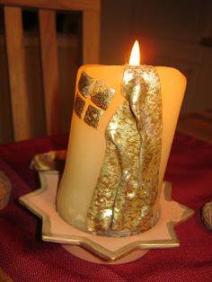 Kerze mit Verzierwachs