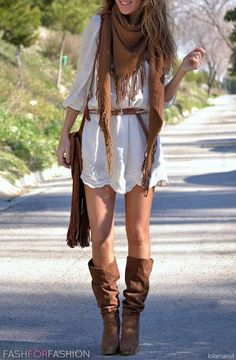 white dress with brown scarf