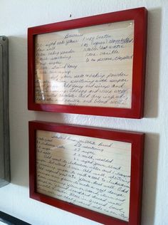 Old recipes framed for the kitchen. This would be awesome with some of my moms old recipes. Kitchen Redo, New Kitchen, Vintage Kitchen, Cheap Kitchen, Kitchen Makeovers, Kitchen Ideas, Kitchen Design, Red Kitchen Decor, Kitchen Decorations