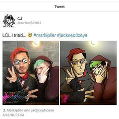 Swaggy Markiplier and Jacksepticeye cartoonjunkie Amazingphil, Danisnotonfire, Pewdiepie, Markiplier Memes, Cryaotic, Jack And Mark, Youtube Gamer, Septiplier, Best Youtubers