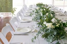 """90 Likes, 4 Comments - Weddings and Special Events (@jademcintoshflowers) on Instagram: """"Crisp white table setting + green foliage table runners = gorgeous!"""""""