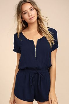 Lulus Exclusive! Dress the Kudos Navy Blue Romper up or down and get compliments all around! Gauzy woven rayon shapes a short sleeve bodice with a scoop neckline with exposed gold zipper detail. Elasticized, drawstring waist tops flirty shorts.