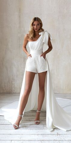 Trend 2020/2021: 33 Wedding Pantsuit & Jumpsuit Ideas ❤ wedding pantsuit ideas unique simple with overskirt train evalendel #weddingforward #wedding #bride