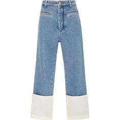 Loewe Fisherman Stonewashed Cuffed Jeans (€550) ❤ liked on Polyvore featuring jeans, pants, bottoms, blue, denim, stone washed jeans, high waisted denim jeans, high waisted cropped jeans, cropped jeans and blue denim jeans